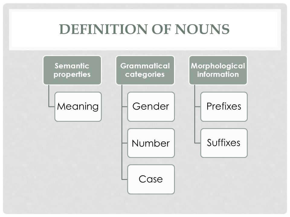 DEFINITION OF NOUNS Semantic properties Meaning Grammatical categories Gender Number Case Morphological information PrefixesSuffixes