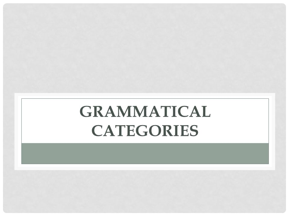 GRAMMATICAL CATEGORIES