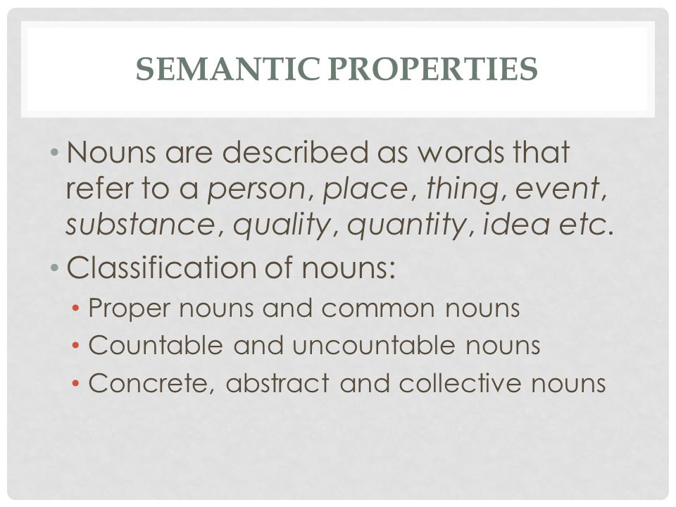 Nouns are described as words that refer to a person, place, thing, event, substance, quality, quantity, idea etc.