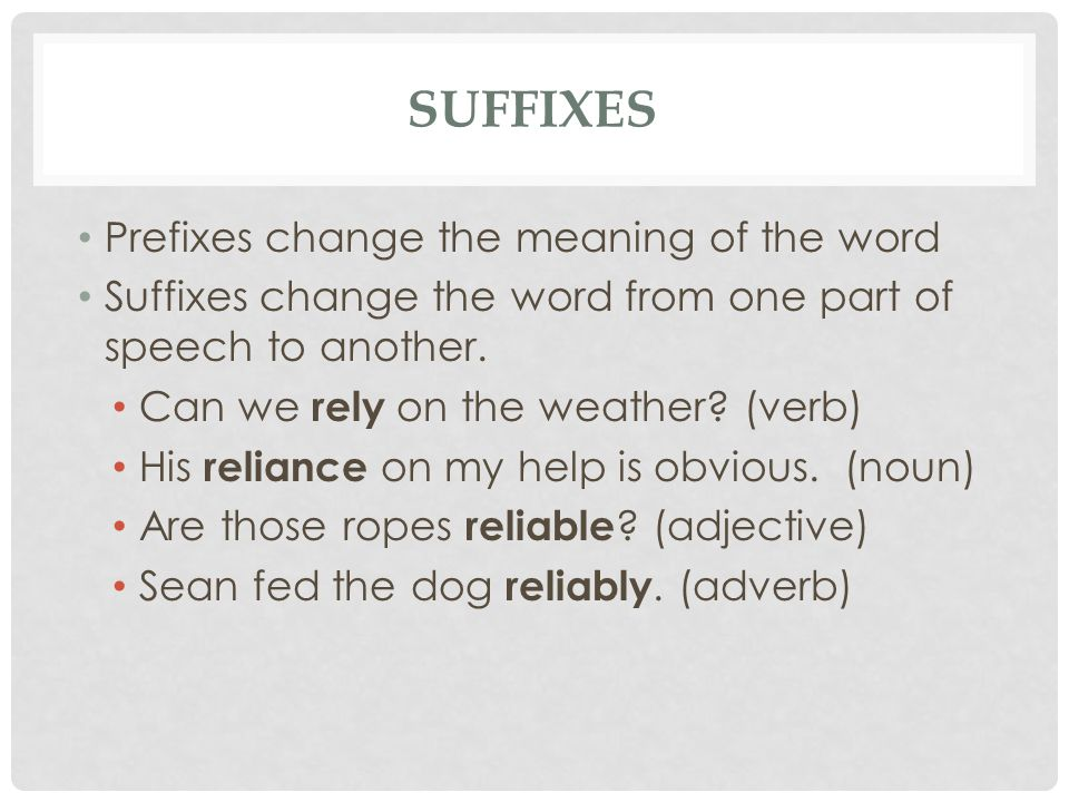SUFFIXES Prefixes change the meaning of the word Suffixes change the word from one part of speech to another.