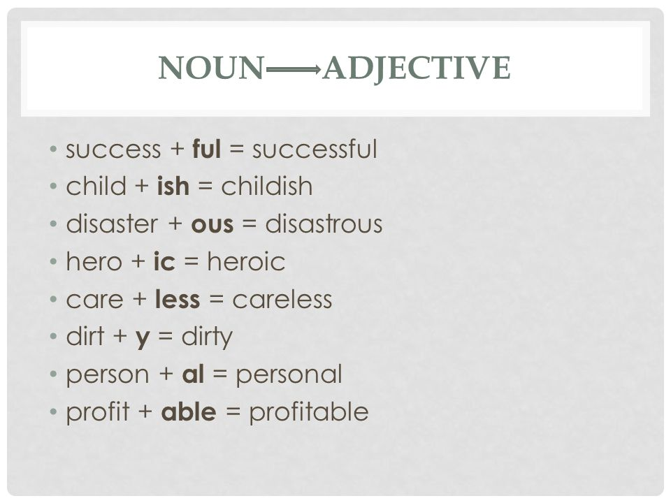 NOUN ADJECTIVE success + ful = successful child + ish = childish disaster + ous = disastrous hero + ic = heroic care + less = careless dirt + y = dirty person + al = personal profit + able = profitable