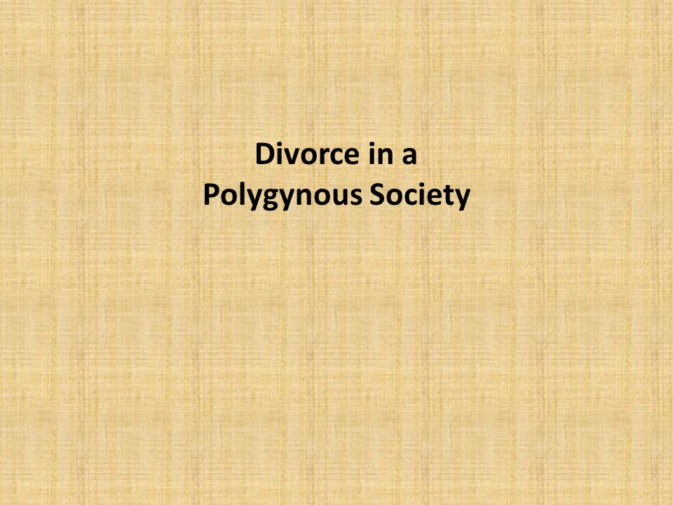 Divorce in a Polygynous Society