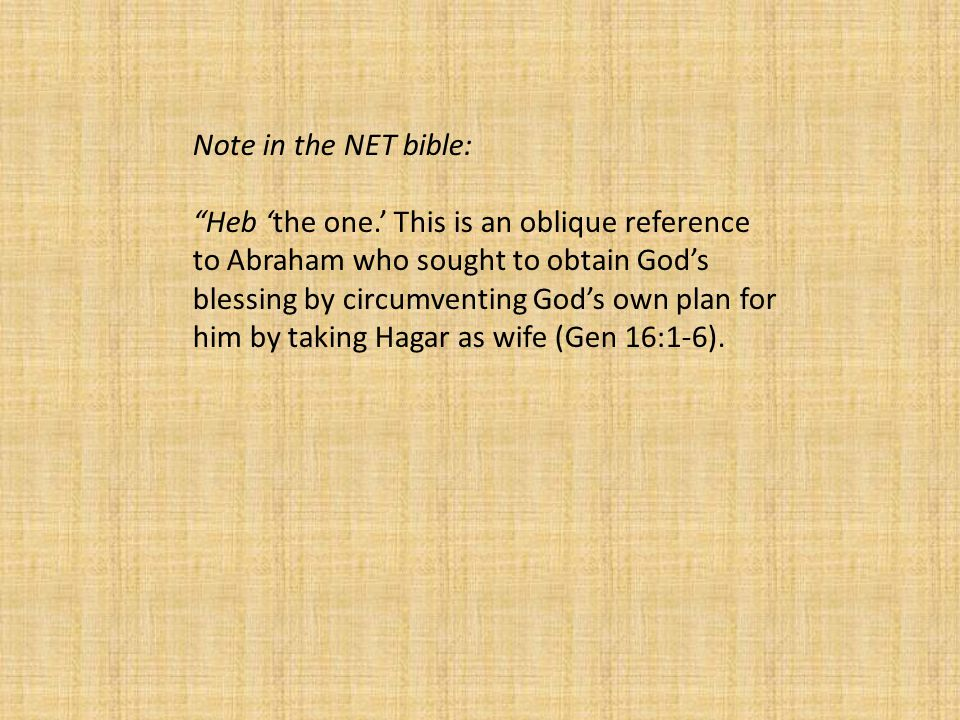 Note in the NET bible: Heb 'the one.' This is an oblique reference to Abraham who sought to obtain God's blessing by circumventing God's own plan for him by taking Hagar as wife (Gen 16:1-6).