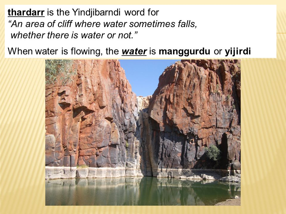 thardarr is the Yindjibarndi word for An area of cliff where water sometimes falls, whether there is water or not. When water is flowing, the water is manggurdu or yijirdi