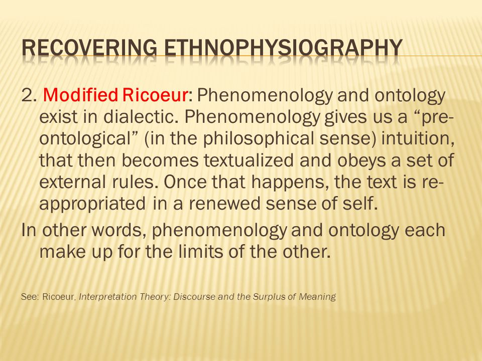 2. Modified Ricoeur: Phenomenology and ontology exist in dialectic.