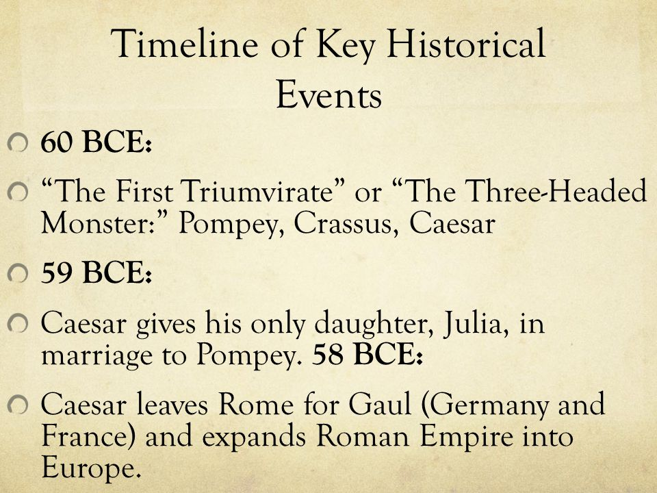 Timeline of Key Historical Events 60 BCE: The First Triumvirate or The Three-Headed Monster: Pompey, Crassus, Caesar 59 BCE: Caesar gives his only daughter, Julia, in marriage to Pompey.