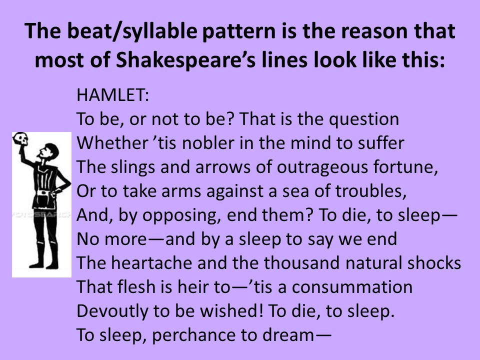 The beat/syllable pattern is the reason that most of Shakespeare's lines look like this: HAMLET: To be, or not to be? That is the question Whether 'ti
