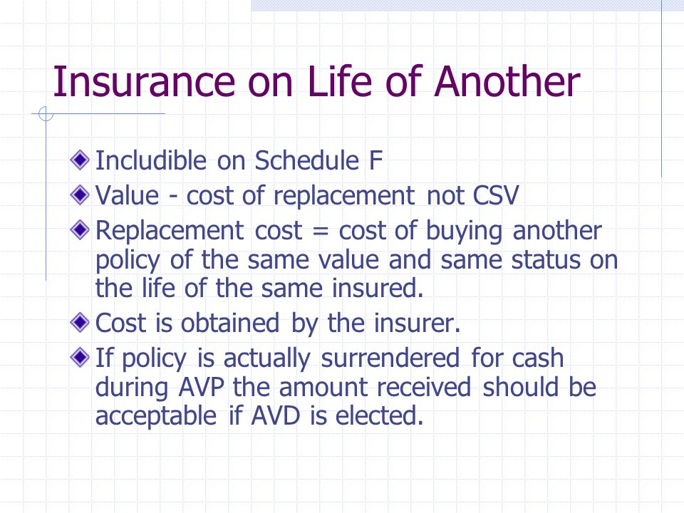 Insurance on Life of Another Includible on Schedule F Value - cost of replacement not CSV Replacement cost = cost of buying another policy of the same value and same status on the life of the same insured.
