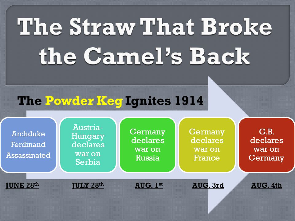 The Powder Keg Ignites 1914 JUNE 28 th JULY 28 th AUG.