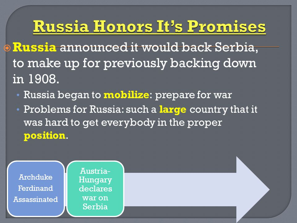  Russia announced it would back Serbia, to make up for previously backing down in 1908.