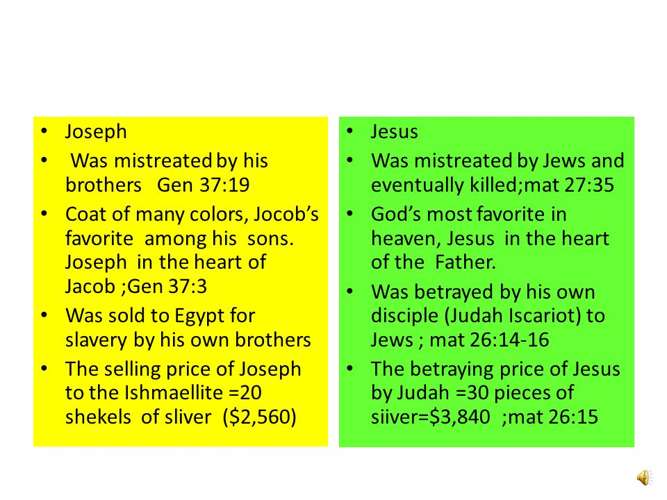 Joseph Was mistreated by his brothers Gen 37:19 Coat of many colors, Jocob's favorite among his sons. Joseph in the heart of Jacob ;Gen 37:3 Was sold