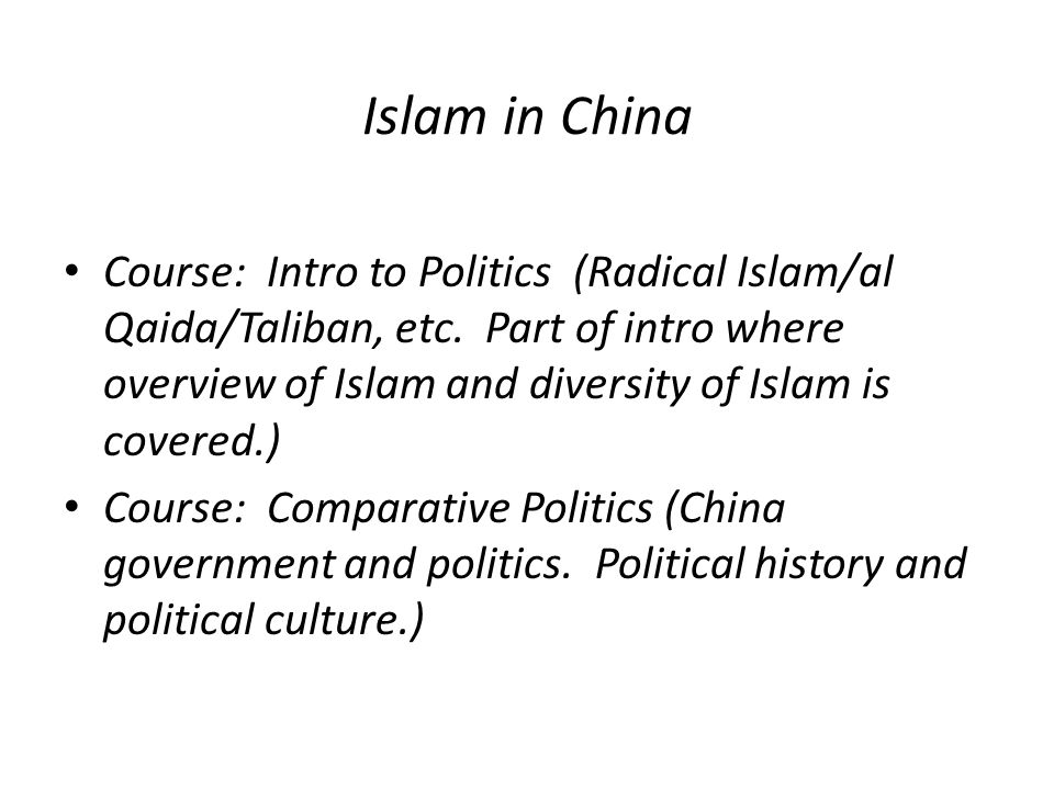 Islam in China Course: Intro to Politics (Radical Islam/al Qaida/Taliban, etc.