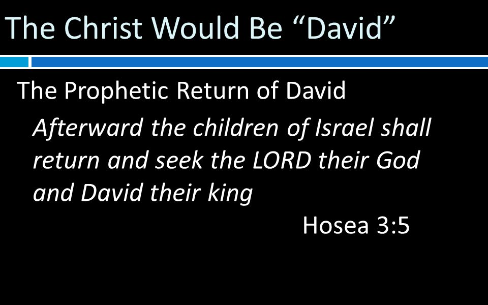 The Christ Would Be David The Prophetic Return of David Afterward the children of Israel shall return and seek the LORD their God and David their king Hosea 3:5