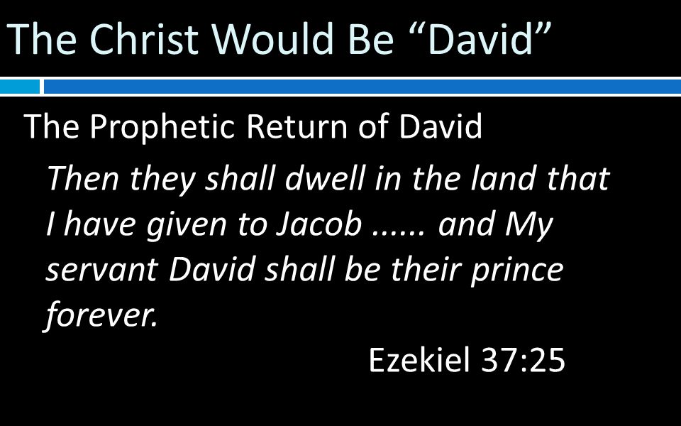The Christ Would Be David The Prophetic Return of David Then they shall dwell in the land that I have given to Jacob......