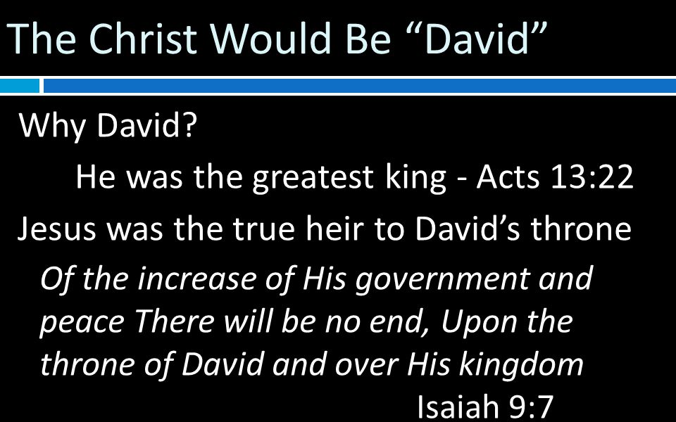 The Christ Would Be David Why David.