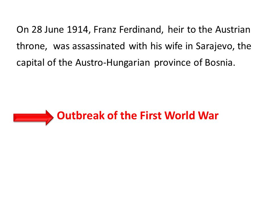 On 28 June 1914, Franz Ferdinand, heir to the Austrian throne, was assassinated with his wife in Sarajevo, the capital of the Austro-Hungarian province of Bosnia.