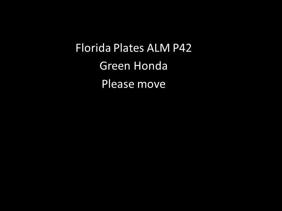 Florida Plates ALM P42 Green Honda Please move