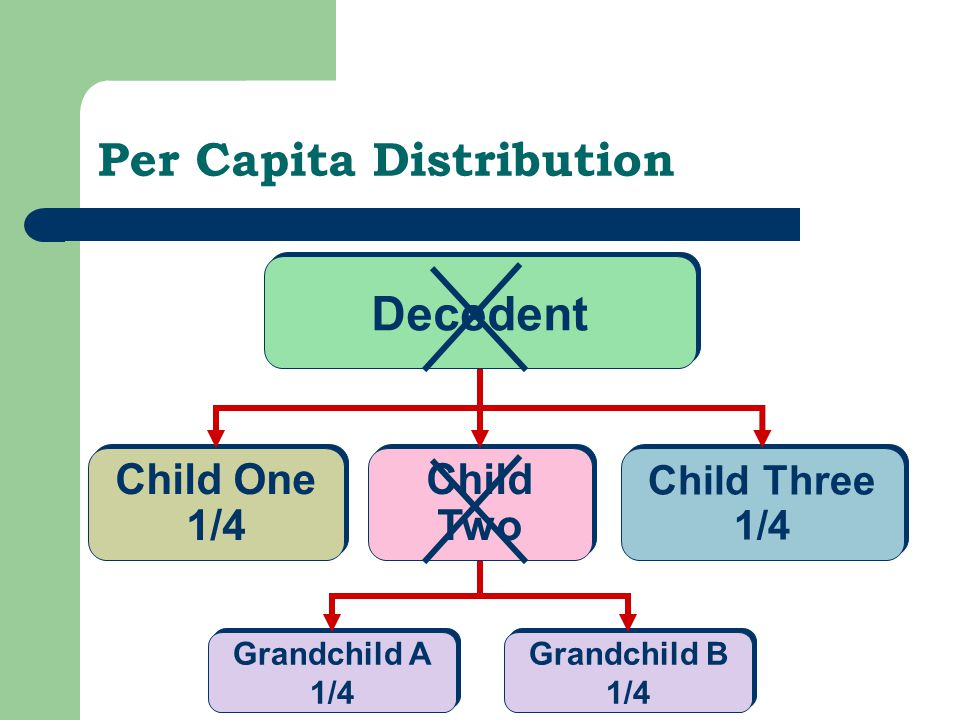 Per Capita Distribution Child One 1/4 Child One 1/4 Child Three 1/4 Child Three 1/4 Decedent Grandchild A 1/4 Grandchild A 1/4 Grandchild B 1/4 Grandchild B 1/4 Child Two