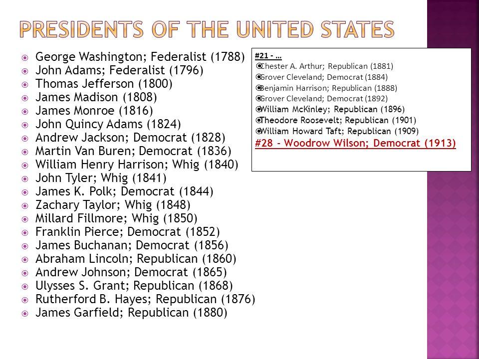  George Washington; Federalist (1788)  John Adams; Federalist (1796)  Thomas Jefferson (1800)  James Madison (1808)  James Monroe (1816)  John Quincy Adams (1824)  Andrew Jackson; Democrat (1828)  Martin Van Buren; Democrat (1836)  William Henry Harrison; Whig (1840)  John Tyler; Whig (1841)  James K.