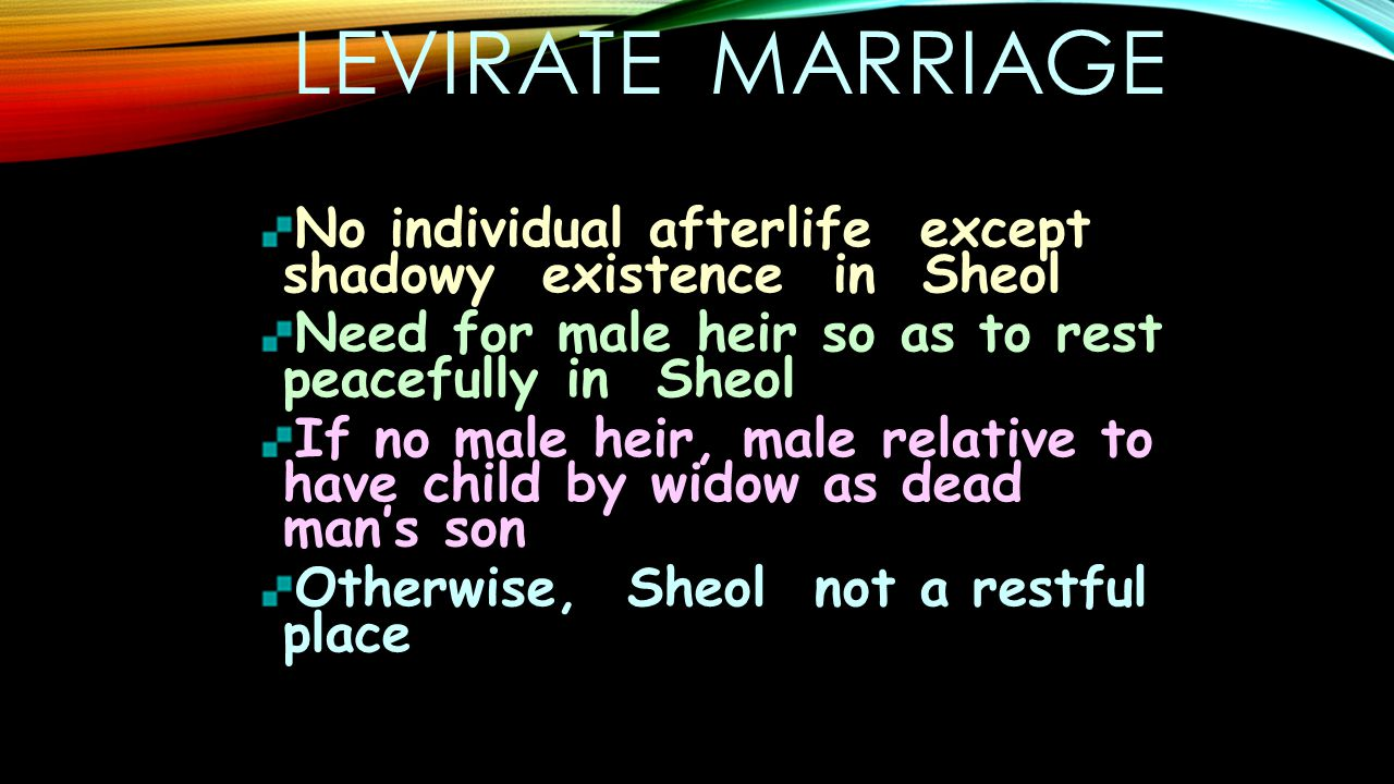 LEVIRATE MARRIAGE No individual afterlife except shadowy existence in Sheol Need for male heir so as to rest peacefully in Sheol If no male heir, male