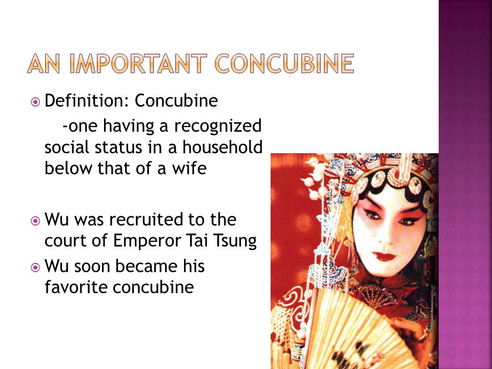  Definition: Concubine -one having a recognized social status in a household below that of a wife  Wu was recruited to the court of Emperor Tai Tsung  Wu soon became his favorite concubine