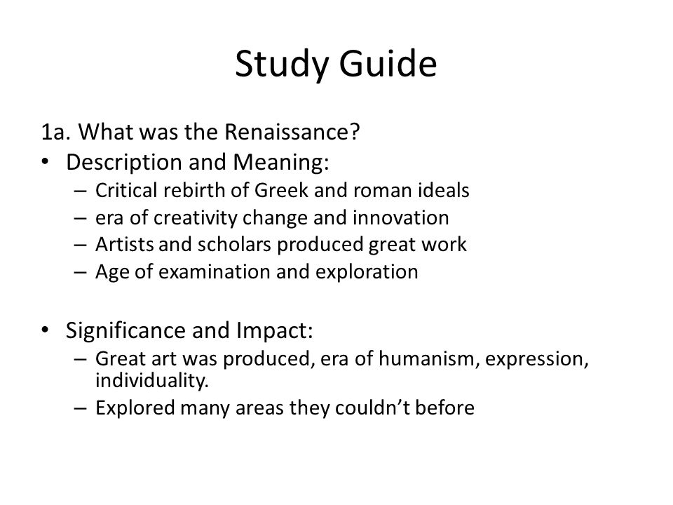 1b.Why did the Renaissance start in Italy.