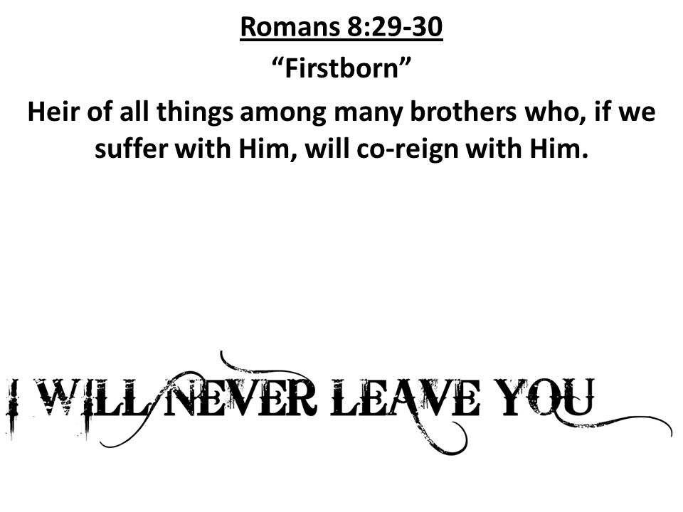 Romans 8:29-30 Firstborn Heir of all things among many brothers who, if we suffer with Him, will co-reign with Him.