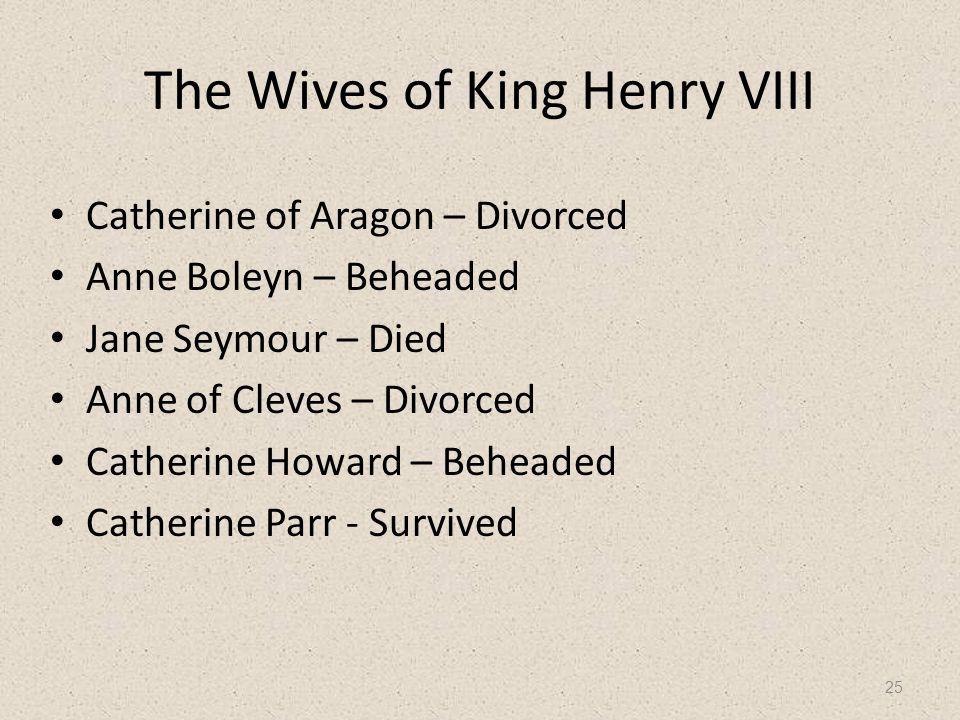 The Wives of King Henry VIII Catherine of Aragon – Divorced Anne Boleyn – Beheaded Jane Seymour – Died Anne of Cleves – Divorced Catherine Howard – Be