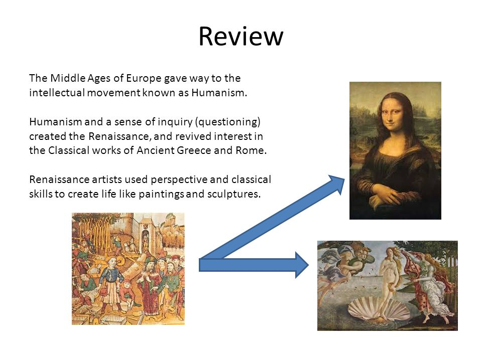 Review The Middle Ages of Europe gave way to the intellectual movement known as Humanism.
