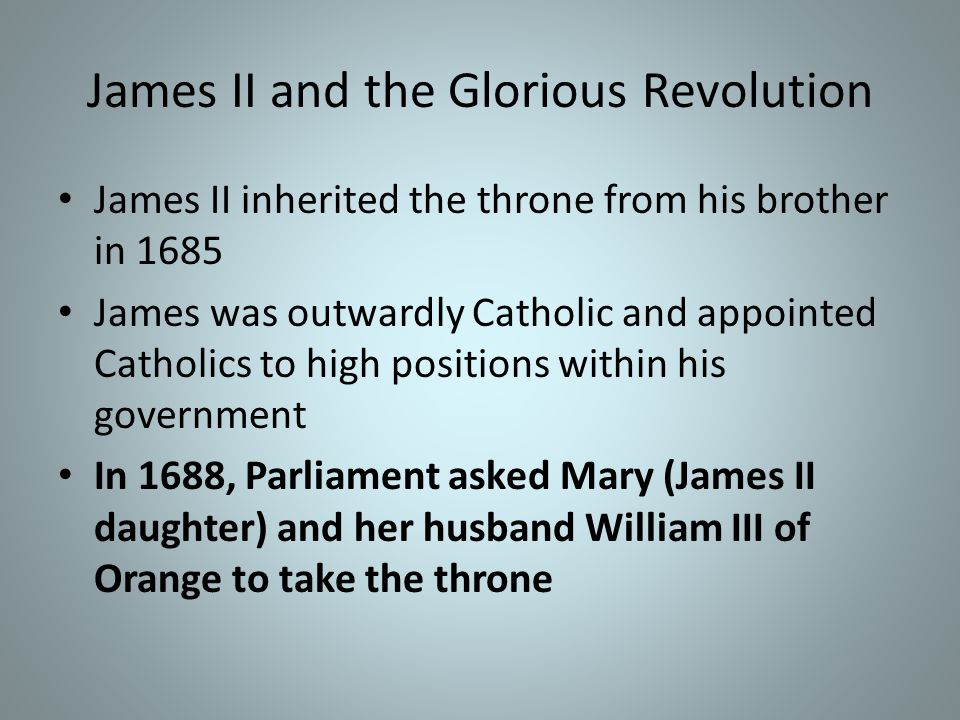 Religious toleration under Charles II Secretly favored Catholicism and urged religious toleration Parliament wanted power only from the Anglican Church Emergence of two political parties: The Tories- supported the power of the King and the Anglican Church The Whigs- supported the power of Parliament, were fiercely anti-Catholic
