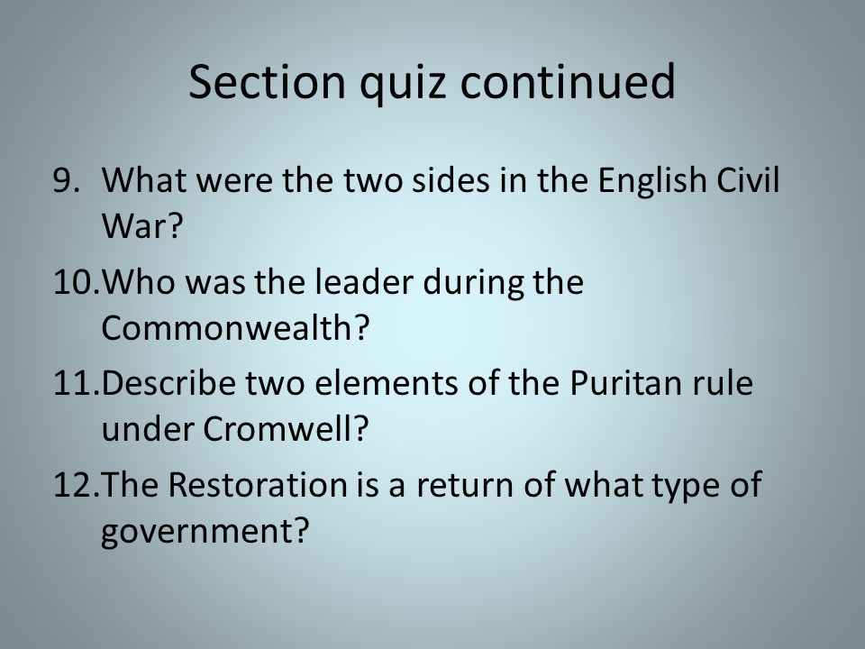 Section quiz 4.This is the name of a non-seperatist religious group who believed that James I was moving the country too close to Catholicism.