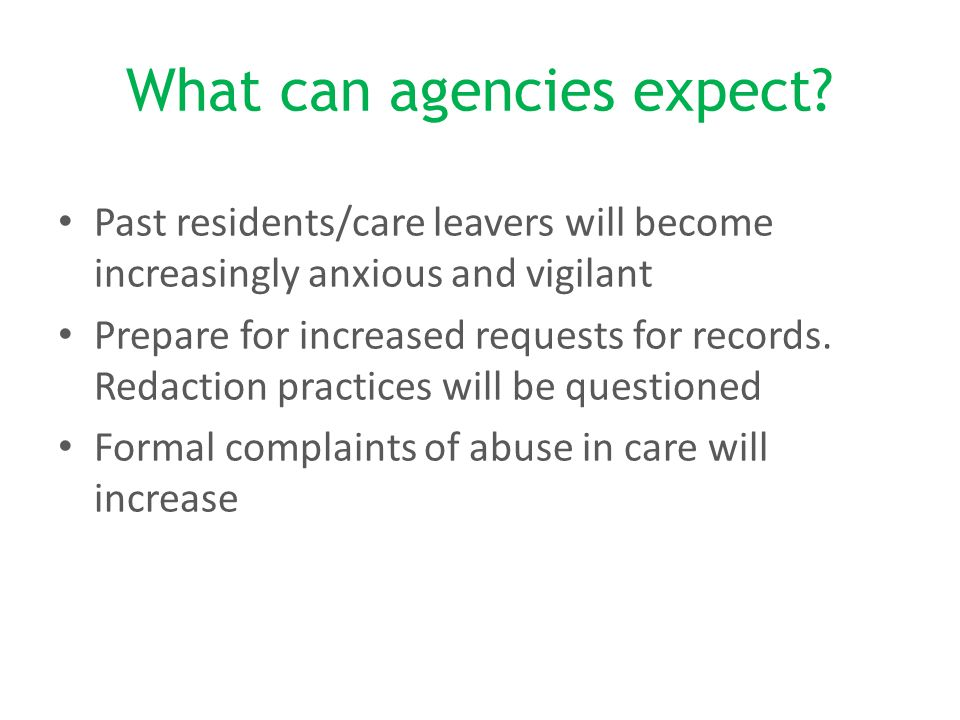 What can agencies expect.