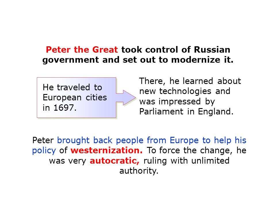Peter the Great took control of Russian government and set out to modernize it.
