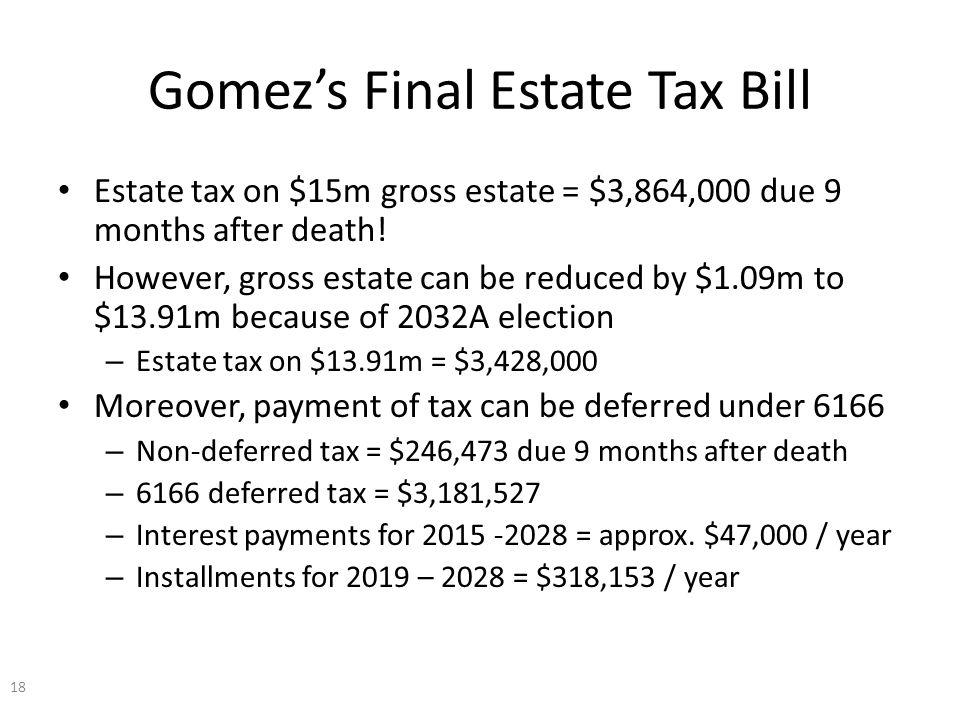 Gomez's Final Estate Tax Bill Estate tax on $15m gross estate = $3,864,000 due 9 months after death.