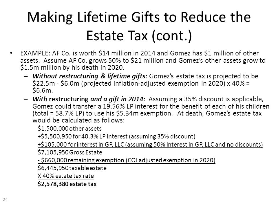 Making Lifetime Gifts to Reduce the Estate Tax (cont.) EXAMPLE: AF Co.