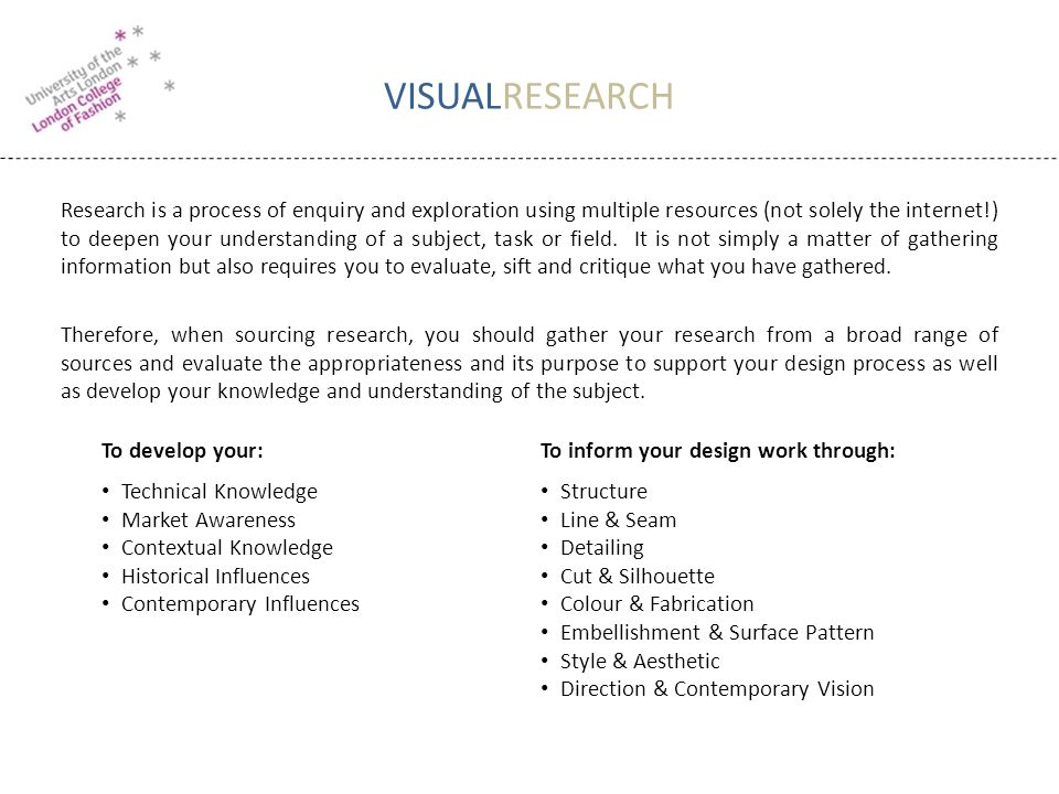 VISUALRESEARCH Research is a process of enquiry and exploration using multiple resources (not solely the internet!) to deepen your understanding of a