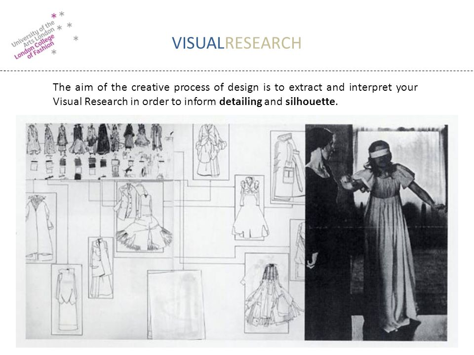 VISUALRESEARCH The aim of the creative process of design is to extract and interpret your Visual Research in order to inform detailing and silhouette.