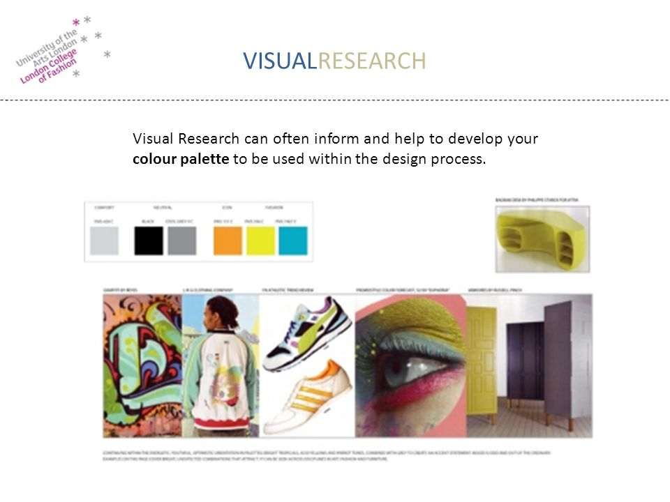 VISUALRESEARCH Visual Research can often inform and help to develop your colour palette to be used within the design process.