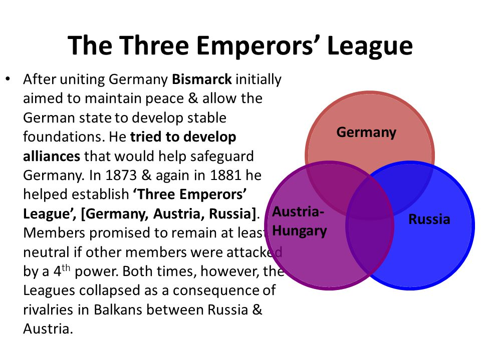The Three Emperors' League After uniting Germany Bismarck initially aimed to maintain peace & allow the German state to develop stable foundations. He