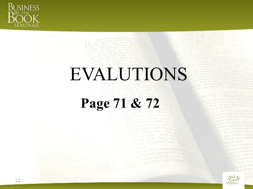 Page 71 & 72 EVALUTIONS 22