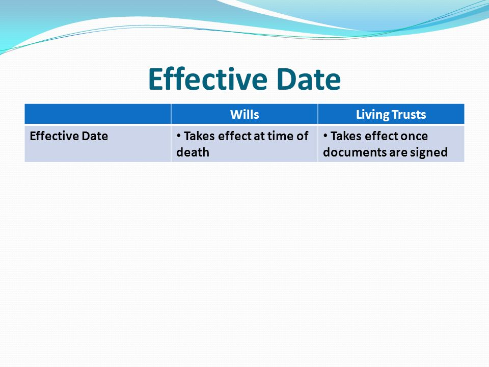 Effective Date WillsLiving Trusts Effective Date Takes effect at time of death Takes effect once documents are signed