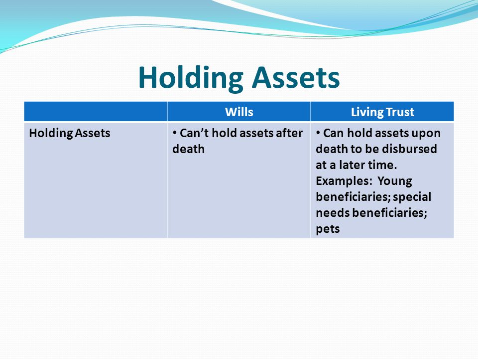 Holding Assets WillsLiving Trust Holding Assets Can't hold assets after death Can hold assets upon death to be disbursed at a later time.