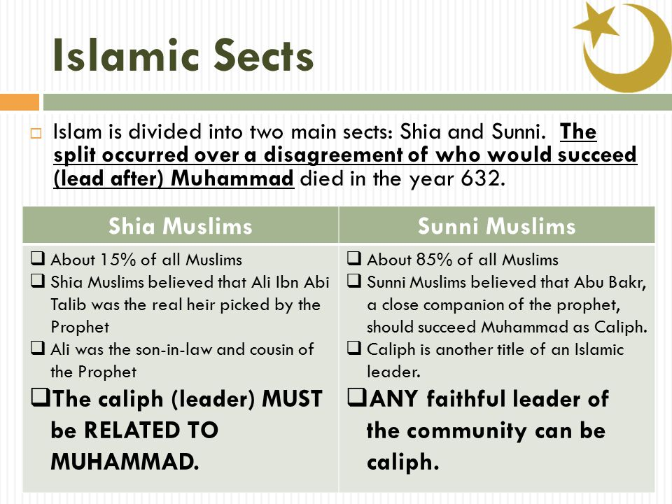 Islamic Sects  Islam is divided into two main sects: Shia and Sunni.