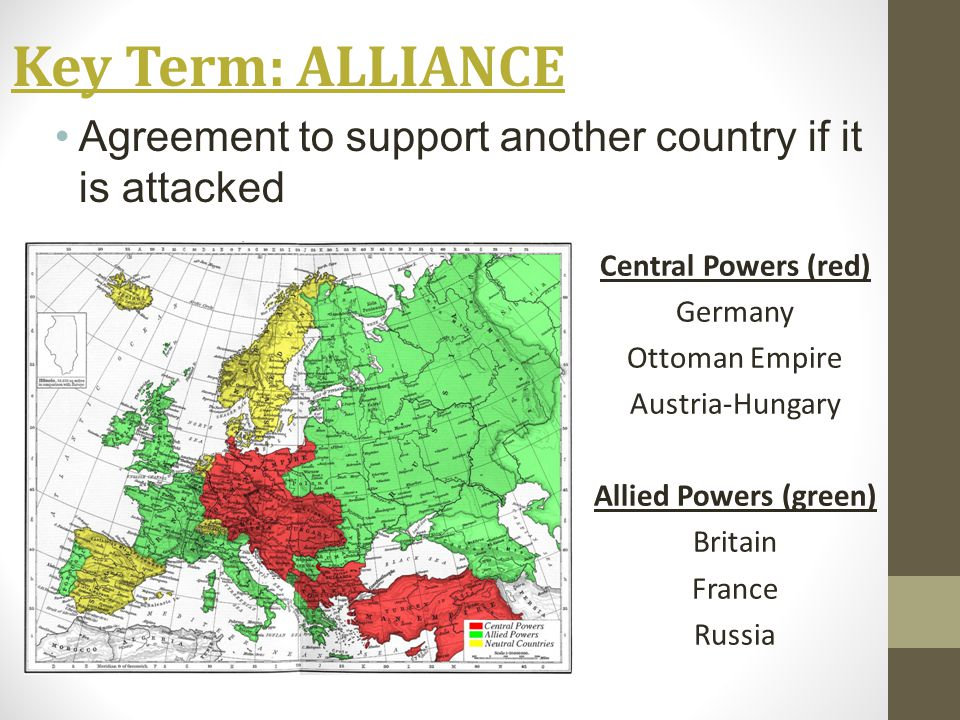 Key Term: ALLIANCE Agreement to support another country if it is attacked Central Powers (red) Germany Ottoman Empire Austria-Hungary Allied Powers (green) Britain France Russia