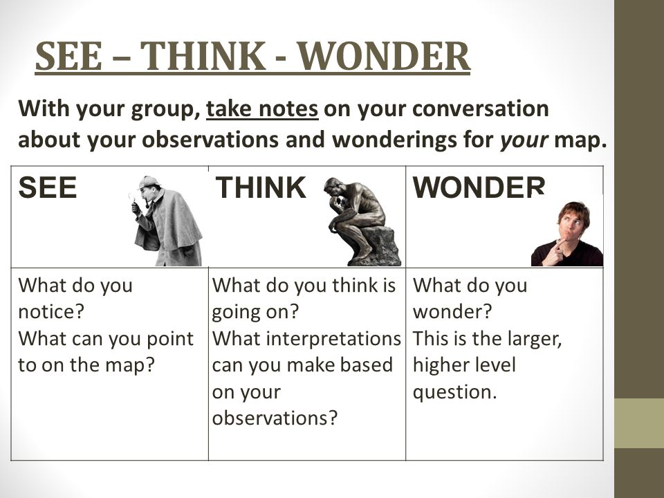 SEE – THINK - WONDER SEETHINKWONDER What do you notice? What can you point to on the map? What do you think is going on? What interpretations can you