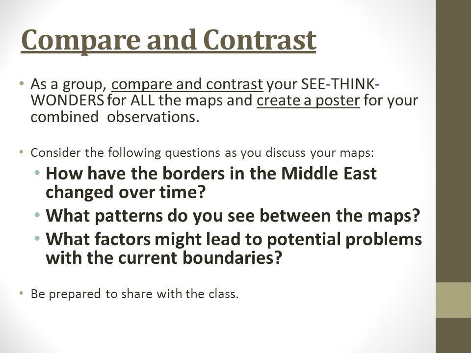 Compare and Contrast As a group, compare and contrast your SEE-THINK- WONDERS for ALL the maps and create a poster for your combined observations.