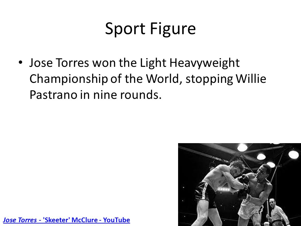 Sport Figure Jose Torres won the Light Heavyweight Championship of the World, stopping Willie Pastrano in nine rounds.