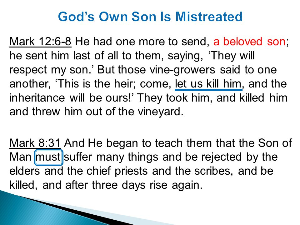 Mark 12:9-12 What will the owner of the vineyard do.
