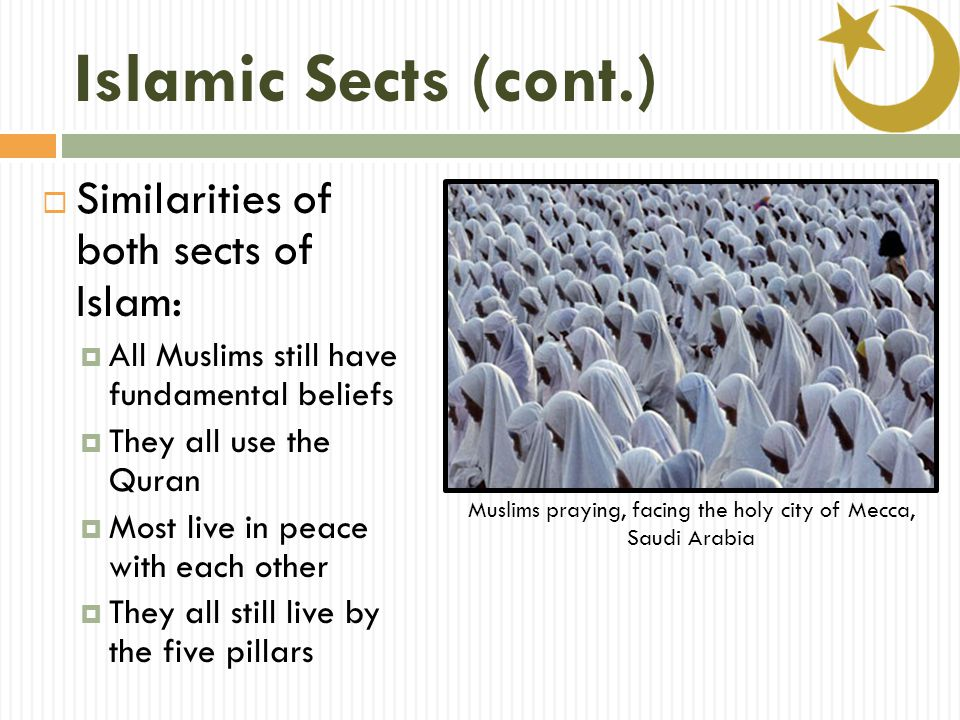 Islamic Sects (cont.)  Similarities of both sects of Islam:  All Muslims still have fundamental beliefs  They all use the Quran  Most live in peace with each other  They all still live by the five pillars Muslims praying, facing the holy city of Mecca, Saudi Arabia