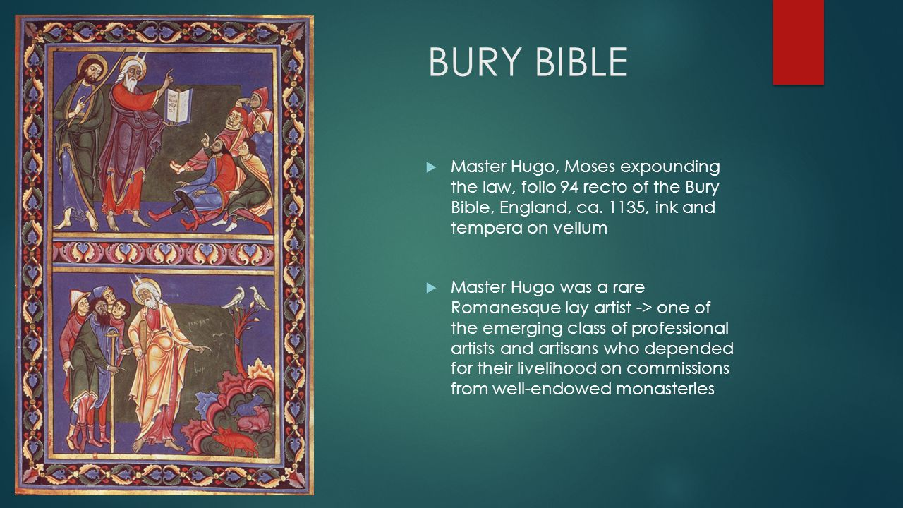 BURY BIBLE  Master Hugo, Moses expounding the law, folio 94 recto of the Bury Bible, England, ca.